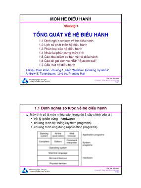 Bài giảng Hệ điều hành - Chương 1: Tổng quát về hệ điều hành - Đại học Bách khoa TP.HCM