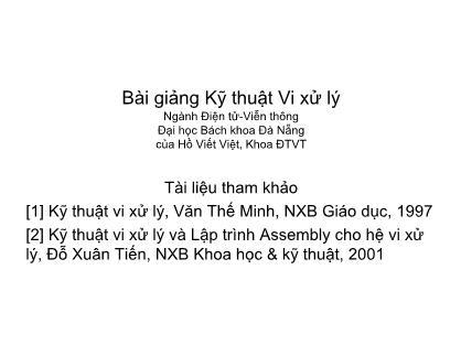 Bài giảng Kỹ thuật Vi xử lý - Chương 6: Các kiểu I/O - Hồ Viết Việt
