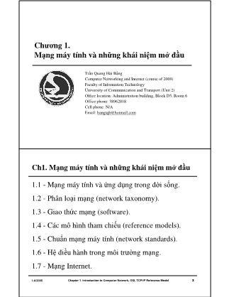 Bài giảng Mạng máy tính - Chương 1: Mạng máy tính và những khái niệm mở đầu - Trần Quang Hải Bằng