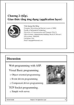 Bài giảng Mạng máy tính - Chương 2 (Tiếp): Giao thức tầng ứng dụng (Application Layer) - Trần Quang Hải Bằng