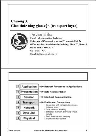 Bài giảng Mạng máy tính - Chương 3: Giao thức tầng giao vận (Transport Layer) - Trần Quang Hải Bằng