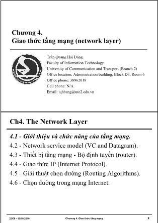 Bài giảng Mạng máy tính - Chương 4: Giao thức tầng mạng (Network Layer) - Trần Quang Hải Bằng