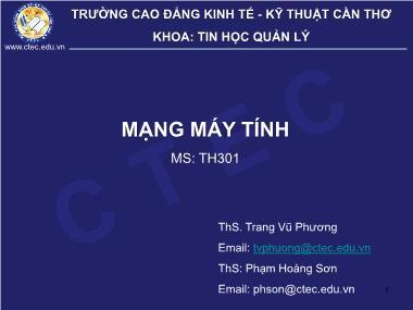 Bài giảng Mạng máy tính - Trang Vũ Phương