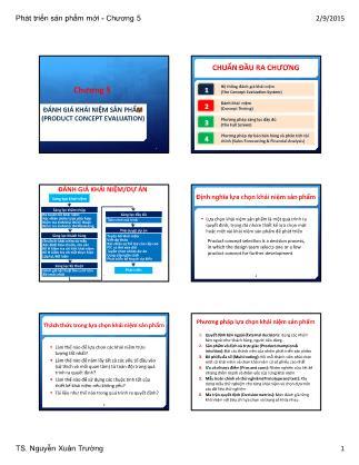 Bài giảng Phát triển sản phẩm mới - Chương 5: Đánh giá khái niệm sản phẩm (Product Concept Evaluation)