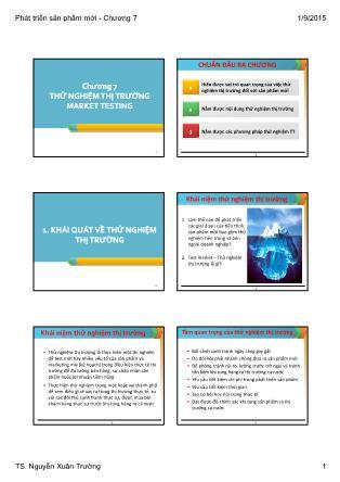 Bài giảng Phát triển sản phẩm mới - Chương 7: Thử nghiệm thị trường Market Testing