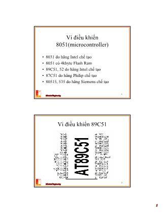 Bài giảng Thiết kế hệ thống vi xử lý - Chương 4: Cấu trúc phần cứng và nguyên lý hoạt động của vi điều khiển 8051 - Nguyễn Hồng Quang