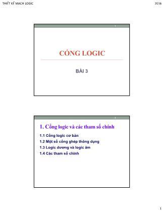 Bài giảng Thiết kế mạch logic - Bài 3: Cổng logic