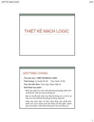 Bài giảng Thiết kế mạch logic - Chương 1+2
