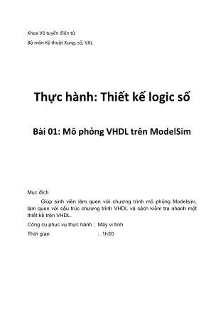 Thực hành Thiết kế logic - Bài 1: Mô phỏng VHDL trên ModelSim