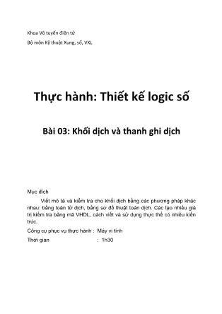Thực hành Thiết kế logic - Bài 3: Khối dịch và thanh ghi dịch