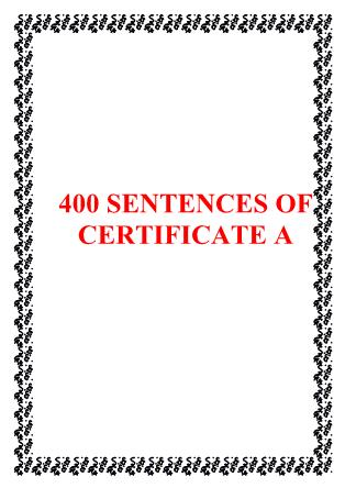 400 Sentences of certificate A