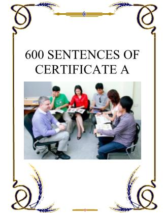 600 Sentences of certificate A