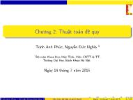 Bài giảng Cấu trúc dữ liệu và giải thuật - Chương 2: Thuật toán đệ quy - Trịnh Anh Phúc