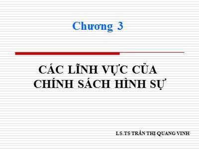 Bài giảng Chính sách hình sự - Chương 3: Các lĩnh vực của chính sách hình sự - Trần Thị Quang Vinh