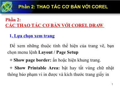 Bài giảng Corel Draw - Phần 2: Thao tác cơ bản với Corel