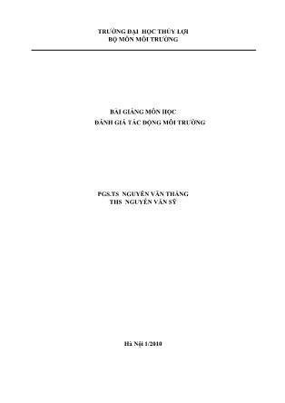 Bài giảng Đánh giá tác động môi trường (Quyển 2) - Nguyễn Văn Thắng