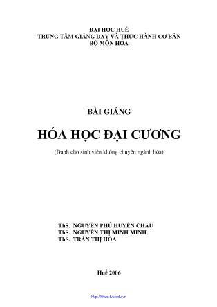 Bài giảng Hóa học đại cương - Nguyễn Phú Huyền Châu