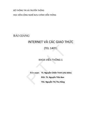 Bài giảng Internet và các giao thức - Nguyễn Chiến Trinh
