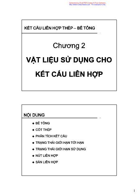 Bài giảng Kết cấu liên hợp thép - Bê tông - Chương 2: Vật liệu sử dụng cho kết cấu liên hợp - Phan Đức Hùng