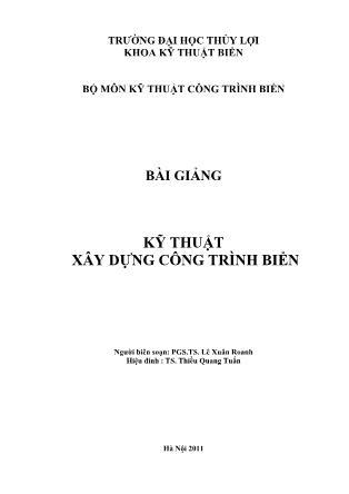 Bài giảng Kỹ thuật xây dựng công trình biển - Lê Xuân Roanh