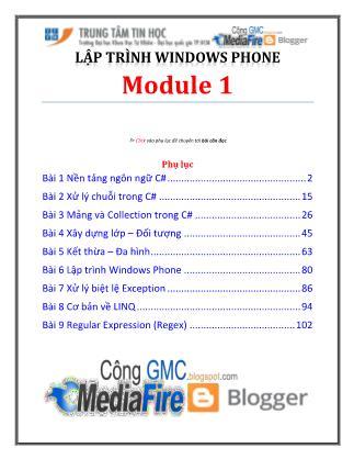 Bài giảng Lập trình Windows Phone - Module 1