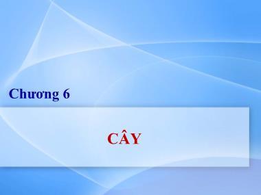 Bài giảng Lý thuyết đồ thị - Chương 6: Cây - Nguyễn Trần Phi Phượng