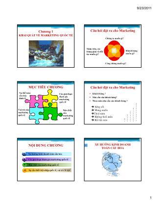Bài giảng Maketing quốc tế - Chương 1: Khái quát về marketing quốc tế