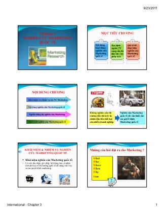 Bài giảng Maketing quốc tế - Chương 3: Nghiên cứu Marketing quốc tế