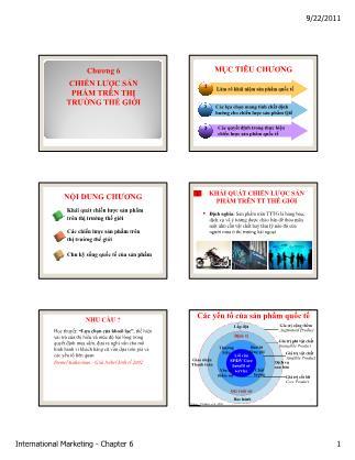Bài giảng Maketing quốc tế - Chương 6: Chiến lược sản phẩm trên thị trường thế giới
