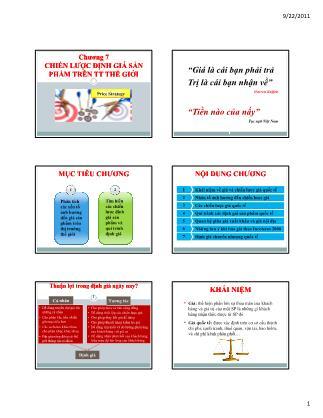 Bài giảng Maketing quốc tế - Chương 7: Chiến lược định giá sản phẩm trên tt thế giới