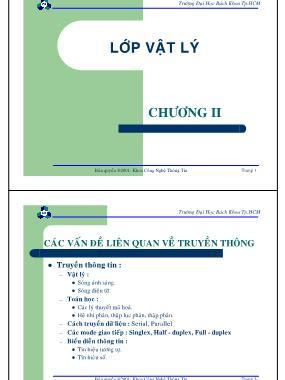 Bài giảng Mạng máy tính - Chương 2: Các vấn đề liên quan về truyền thông - Nguyễn Cao Đạt