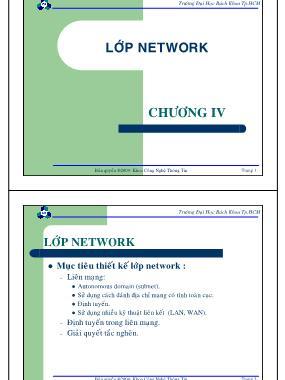 Bài giảng Mạng máy tính - Chương 4: Lớp Network - Nguyễn Cao Đạt