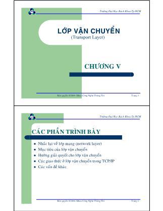 Bài giảng Mạng máy tính - Chương 5: Các phần trình bày - Nguyễn Cao Đạt