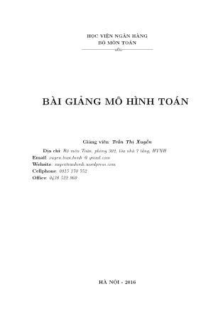 Bài giảng Mô hình toán - Trần Thị Xuyến