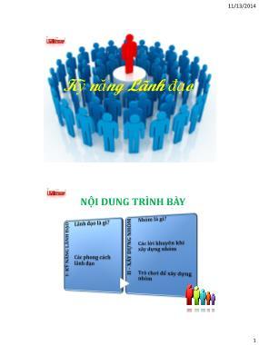 Bài giảng môn Kỹ năng lãnh đạo