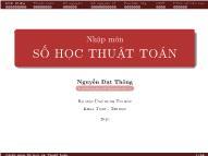 Bài giảng Nhập môn Số học và thuật toán - Nguyễn Đạt Thông
