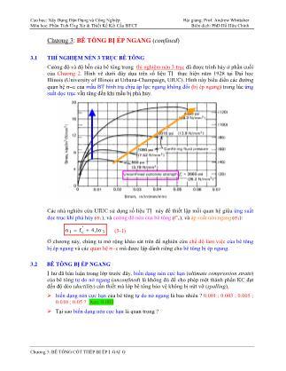 Bài giảng Phân tích ứng xử & thiết kế kết cấu bê tông cốt thép - Chương 3: Bê tông bị ép ngang (Confined)