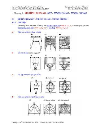 Bài giảng Phân tích ứng xử & thiết kế kết cấu bê tông cốt thép - Chương 9: Mô hình giàn ảo nút - Thanh giằng - Thanh chống