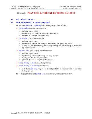 Bài giảng Phân tích ứng xử & thiết kế kết cấu bê tông cốt thép - Chương 5: Phân tích & thiết kế hệ thống sàn bê tông cốt thép