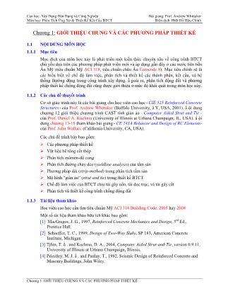 Bài giảng Phân tích ứng xử & thiết kế kết cấu bê tông cốt thép - Chương 1: Giới thiệu chung và các phương pháp thiết kế