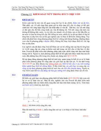 Bài giảng Phân tích ứng xử & thiết kế kết cấu bê tông cốt thép - Chương 12: Kiểm soát nứt trong bê tông cốt thép chịu uốn