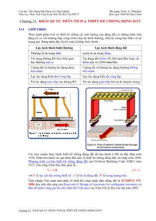 Bài giảng Phân tích ứng xử & thiết kế kết cấu bê tông cốt thép - Chương 13: Khái quát Phân tích & thiết kế chống động đất