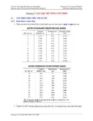 Bài giảng Phân tích ứng xử & thiết kế kết cấu bê tông cốt thép - Chương 2: Vật liệu bê tông cốt thép