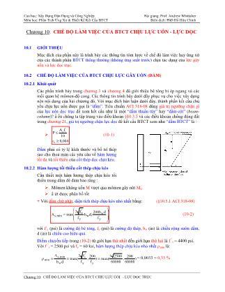 Bài giảng Phân tích ứng xử & thiết kế kết cấu bê tông cốt thép - Chương 10: Chế độ làm việc của bê tông cốt thép chịu lực uốn - Lực dọc trục