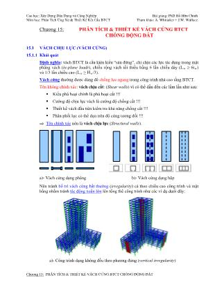 Bài giảng Phân tích ứng xử & thiết kế kết cấu bê tông cốt thép - Chương 15: Phân tích & thiết kế vách cứng bê tông cốt thép chống động đất