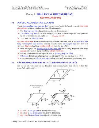 Bài giảng Phân tích ứng xử & thiết kế kết cấu bê tông cốt thép - Chương 7: Phân tích & thiết kế hệ sàn - Phương pháp dải