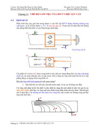Bài giảng Phân tích ứng xử & thiết kế kết cấu bê tông cốt thép - Chương 11: Chế độ làm việc của bê tông cốt thép chịu lực cắt