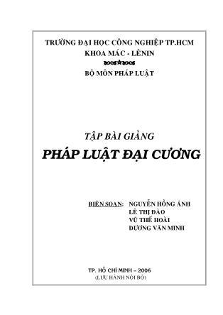 Bài giảng Pháp luật đại cương (Phần 1) - Nguyễn Hồng Ánh