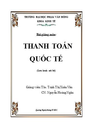 Bài giảng Thanh toán quốc tế - Chương 1: Những vấn đề cơ bản trong - Trịnh Thị Xuân Vân