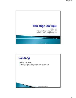 Bài giảng Thống kê học ứng dụng trong quản lý xây dựng - Chương 4: Thu thập dữ liệu - Nguyễn Duy Long